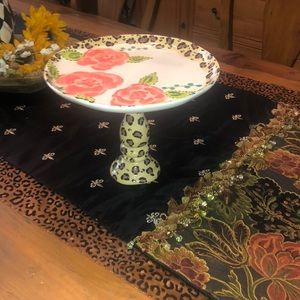 Leopard/Rose Cake Plate with Pedestal